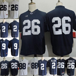 2751b4855 2018 Penn State Nittany Lions  26 Saquon Barkley 2 Marcus Allen 88 Mike  Gesicki  9 No Name Navy Blue White Stitched NCAA College Jerseys