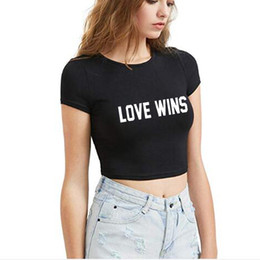 998baf3a917 crop tops tumblr 2019 - Love Wins Letters Print Women Crop Top 2018 Tshirt  Cotton Funny