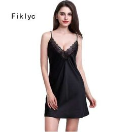 Wholesale Fiklyc brand sexy women nightwear mini nightgowns tempatation deep v straps skirts summer faux silk sleepwear hot
