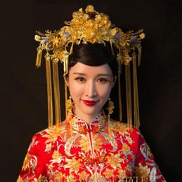 classic wedding hair styles NZ - New soo Wo Chinese Style Bridal headwear, classic Phoenix crown and swing suit, wedding dress, costume and accessories, antique costume.