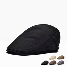Cotton Berets For Women Australia - PADEGAO 100% cotton men's autumn beret cap flat thickened retro casual hat old hat for men and women all-purpose beret