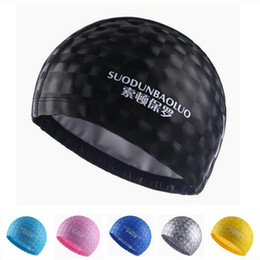 women hairs NZ - Women Men Bright 3D Water Cube Waterproof PU Coating Fabric Hair Ear Protection Swim Pool Sports Dive Swimming Head Cap Surf Hat