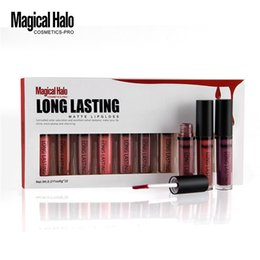 Discount magical halo lipstick - Wholesale-Magical Halo 10PCS SET Matte Lip Gloss Set Kit Professional Long Lasting Lips Cosmetic Sexy Non-fade Liquid Li