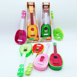 free education for children 2018 - Children Guitar Toys Cartoon Fruits Printed Ukulele For Kids Early Education Musical Instruments Toys Gifts Factory Chea