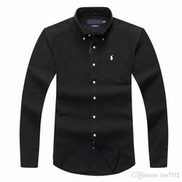 Vente en gros Chemise POLO à manches longues pour hommes Automne printemps Chemise habillée pour hommes occasionnels POLO petit cheval chemises mode chemise sociale affaires longues sle