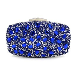 Chinese  Wedding Bridal Handbag Ladies party mini bag Fashion royal blue Rhinestone Evening Bags Women Clutch Purse Evening Clutch Bags manufacturers
