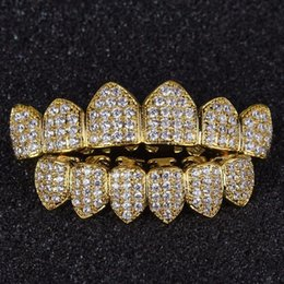 Discount pave diamond white gold - 11 Hip Hop Grills Pure Gold Color Plated High Quality Tooth Grill Micro Pave CZ Top & Bottom GRILL Mouth Teeth Grills Se