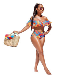 Triangle swim wear online shopping - Off Shoulder Print Sexy Two Piece Swimsuit Women Slash Neck Bikini Sets Short Sleeve Cropped Top And Summer Beach Triangle Shorts Swim Wear