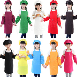 Cotton Set Aprons Australia - 3pcs set Kids Apron Waists with Sleeve chef Hat Kindergarten Kitchen Baking Painting Cooking food Children Aprons for Boy Girl high quality