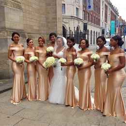 Wholesale African Off The Shoulder Mermaid Bridesmaids Dresses New Gold Floor Length Sleeveless Sexy Black Girl Wedding Guest Prom Dress