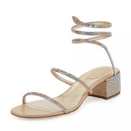 rome girls sandals 2019 - Summer Women New Fashion Serpent-Shaped Medium-Heeled Rome Shoes Open Toe Rhinestone Sexy Sandals Girls Slip On Breathab