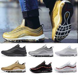 Vente en gros with box Nike air max 97 airmax 97 Vente chaude Nouveaux Hommes Chaussures de Course Coussin 97 KPU En Plastique Pas Cher Chaussures De Formation De Mode En Gros En Plein Air Espadrilles US 7-12