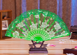 Plastic Green Flowers China NZ - New 100pcs Lace Fabric Silk Folding Hand Held Dance Fans Flower Party Wedding Prom