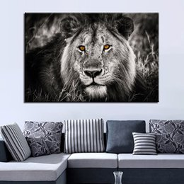 Painting Faces Australia - Canvas Pictures Home Decor For Living Room HD Prints 1 Piece Pcs Black White Lion Face Painting Animal Poster Wall Art Framework