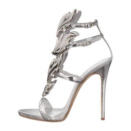 e1c05871f522 Hot sell women high heel sandals gold leaf flame gladiator sandal shoes  party dress shoe woman patent leather high heels