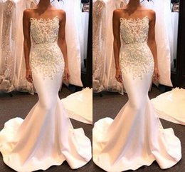 White shiny lace mermaid dress online shopping - New Sexy White Strapless Evening Gowns Shiny Long Mermaid Prom Dresses with Beadings Custom Made Cheap Party Gowns