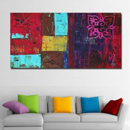 colorful home decor UK - 1 Piece Patchwork Colorful Abstract Art Modern Oil Painting Printed On Canvas Wall Art Print Poster For Living Room Home Decor No Framed