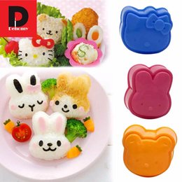 Wholesale Dehomy Bear Rabbit Hello kitty Sushi Rice Sandwich Biscuit Mold Bread Cookie Cutter Mold Bento Baking DIY Tool Kitchen set