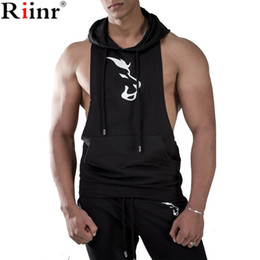 Wholesale stringer hoodies for sale - Group buy Riinr New Products Tank Hoodies Men Fitness Bodybuilding Cotton Sleeveless Sweatshirt Solid Stringer Summer Hot Mens hooded