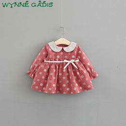 3936c99b4a5e6 Autumn Baby Girls Long Sleeve Peter pan Collar Polka Dot Cute Bow Princess  Party Pleated Tutu Kids Dress vestido infantil