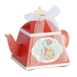 wholesale candy packaging supplies UK - 2018 10pcs Teapot Candy Box With Ribbon Gift Cake Candies Packaging Boxes For Wedding Baby Shower Birthday Favors Supplies