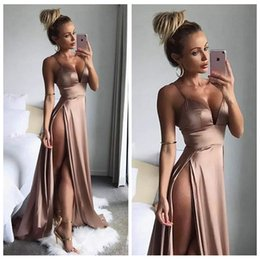 Wholesale Sexy Thigh High Slits Dresses Evening Wear Simple Long Party Dress Spaghetti Straps Deep V Neck A Line Prom Gowns