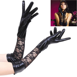 sexy leather black gloves NZ - Adult Patent Leather Bridal Gloves Sexy Lace Patchwork Wedding Accessories Red Black Finger Women Party Gloves 2 Size J3