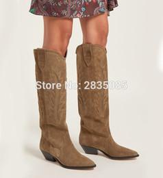 $enCountryForm.capitalKeyWord Canada - Qianruiti Western Cowboy Shoes Women Pointed Toe Block Heel Gladiator Long Botas Slip On Soft Suede Embroidery Knee High Boots