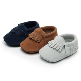 0905b8156e30bf Genuine Leather Baby Shoes for Girls Boys Baby Booties Super soft Suede  Moccasins Fashion Fringe First Walks 0-24M 3 Colors inexpensive baby  moccasins for ...