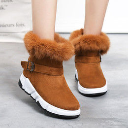 $enCountryForm.capitalKeyWord NZ - 2018 Furry Woman Snow Boots Winter Warm Plush Female Ankle Boots Buckle Strap Hot Sale Ladies Shoes Flock Zapatos mujer