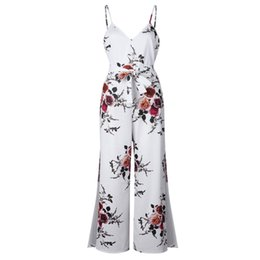 printed jumpsuits UK - rompers womens jumpsuit overalls plus size streetwear off shoulder floral romper 2018 summer one piece wide leg jumpsuit 0792.