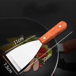 $enCountryForm.capitalKeyWord Australia - DHL Wooden Handle Stainless Steel Barbecue Steak Shovel Baking Pastry Spatulas Tools Kitchen Accessories Steak Pizza Shovel Grill Tool