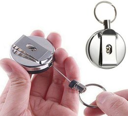 ski pass holder NZ - Stainless Steel Retractable Key Chain Recoil Ring Belt Clip Ski Pass ID Holder Party Supplies