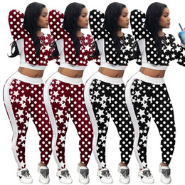 Wholesale star puff for sale – custom Women Star Polka Dot Print Tracksuit starry sky Long Sleeve Crop Top Bodycon Pant Casual Autumn Two Piece Outfits Sportswear gym wear