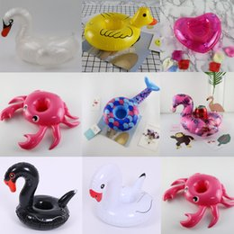 Wholesale Mini Yellow Duck Flamingo Black and white swan Inflatable Cup Holder Beverage Boats Summer Pool Party Beach Party Supplies