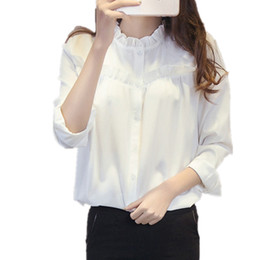 LOSSKY White Stand Collar Women Shirt Blouse Long Sleeve Autumn Office Ladies  Tops Shirts Formal Slim Button Ruffles OL Blouses a02f57a50012