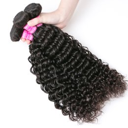Discount inch indian deep wave hair - Brazilian Deep Wave Human Hair Weave 3 4 Bundles 8-28inch Wholesale Deep Curly Hair Weft 8A Unprocessed Natural Black