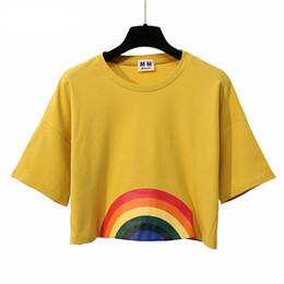 224dad3ff74 Summer New Fashion Harajuku Women T -Shirt Kawaii Rainbow Print Crop Tops  Tees Cute Cotton Top Short Sleeve T-Shirts Female