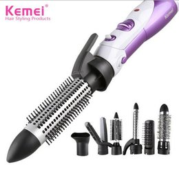 Air brush hAir styler online shopping - KM New in Multifunction Hair Brush Styler Blow Hair Curler Wand Straightener Curling Iron Salon Styling Equipments EU Plug V
