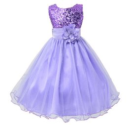 Chinese  Hot Sale Baby Girl Flower sequins Dress Party Princess Dress Children kids clothes 9 colors 3-14yrs Flower Girl Dress manufacturers