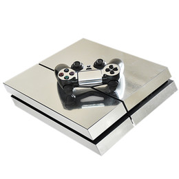 xbox console skins 2019 - HOMEREALLY PS4 Skin Chrome Silver Color PS4 HD Sticker Full Cover For Sony Plsaystation 4 Console and 2 Controller PS4 A