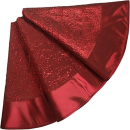 """Chinese  Free shipping EXTRA Large 50"""" sequin glitter sparkle body faux silk luxury Christmas Tree Skirt burgundy P1356 manufacturers"""