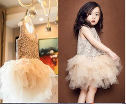 Chinese  baby girl's princess dress toddler birthday party wedding dresses kids crochet tutu skirts babies party prom Champagne dress manufacturers