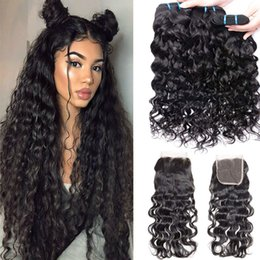 remy hair weft closure 2019 - Indian Human Hair Weave 3 bundles with Closure 12 14 16 +10 Lace Closure with Baby Hair 100% Virgin Remy Hair Extensions