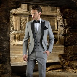 italian wedding vest NZ - Italian Retro Gray Wedding Suits for Men 2018 3 Pieces Jacket+Pants+Vest Black Peaked Lapel Best Men Blazers Groomsmen Suits Party Prom Wear
