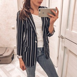 $enCountryForm.capitalKeyWord Canada - Women Striped Blazer Autumn Female Work Jacket Vintage High Quality Fashion Office lady Elegant Blazers Feminino Black White L18101302