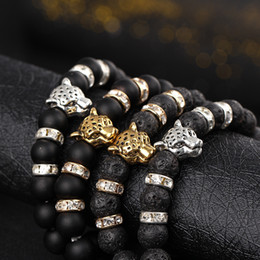 Wholesale Europe and the United States natural matte black volcanic lava rock bracelets beads leopard head crystal studded elastic bracelet men