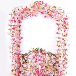 $enCountryForm.capitalKeyWord UK - 2.2m Pink Cherry Flower DIY Artificial Rose Garland Flower Vine for Home Wedding Floral Decoration 6 Colors