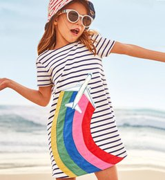 $enCountryForm.capitalKeyWord Canada - Everweekend Girls Cartoon Airplane Rainbow Striped Ruffles Dress Lovely Kids White Color Cotton Summer Holiday Clothes