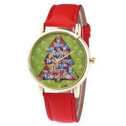 $enCountryForm.capitalKeyWord NZ - Hot Sale 2018 Christmas Lady Glass Mirror Watch Leather Strap Christmas Tree Best Gift Women's Watches Girls Clock